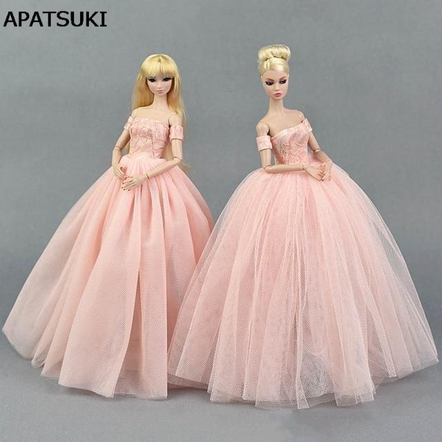 Różowa Suknia ślubna Dla Lalka Barbie Księżniczka Ubrania Nosi