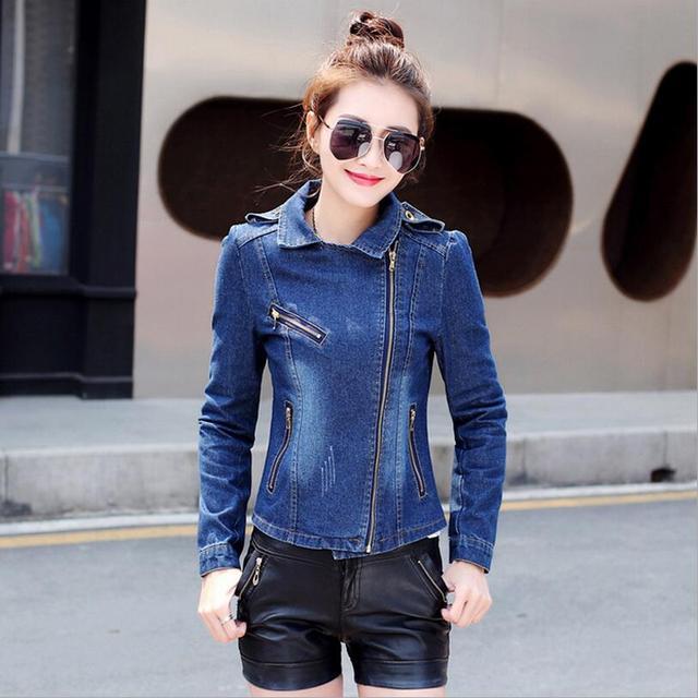 2018 nuevas mujeres jeans chaqueta de moda oblicua cremallera Denim  Chaqueta slim Mujer Denim corto S321 04f4e6c51d0f