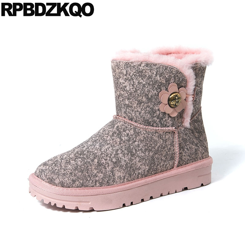 Casual Pink Booties Metal Suede Shoes Warm Flat Ankle Platform Winter Snow Boots Women Chinese Female Ladies 2017 New Fashion booties warm shoes winter round toe side zip boots brown real fur flat casual ankle female new ladies 2017 chinese fashion short