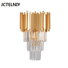Modern creative crystal wall lamp luxury villa decorative bedroom bedside designer corridor fixture