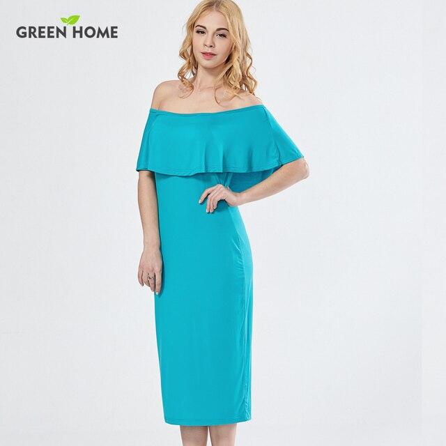 7d43bafacfb2 Verde Casa Tubo Elegante Vestito Da Partito a Metà Polpaccio Estate  Allattamento Vestiti Di Maternità per