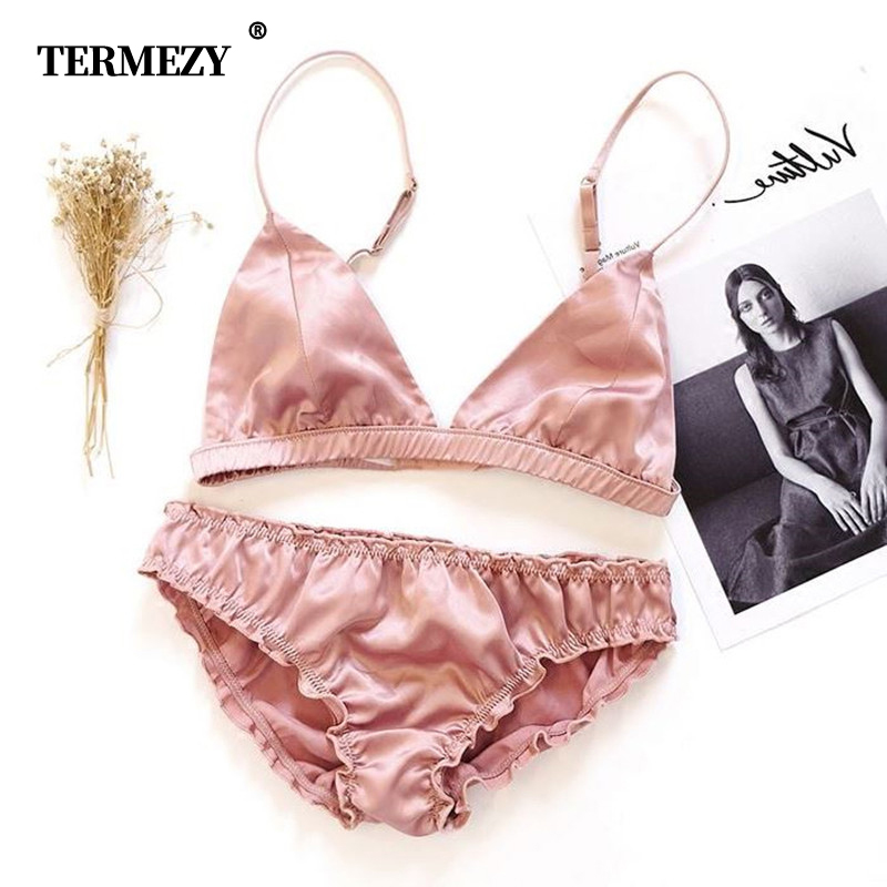 TERMEZY Women <font><b>bralette</b></font> Set Ultrathin Comfortable <font><b>intimate</b></font> <font><b>lingerie</b></font> Wire Free Brassiere triangle cup <font><b>Underwear</b></font> Bra and Panty Set image