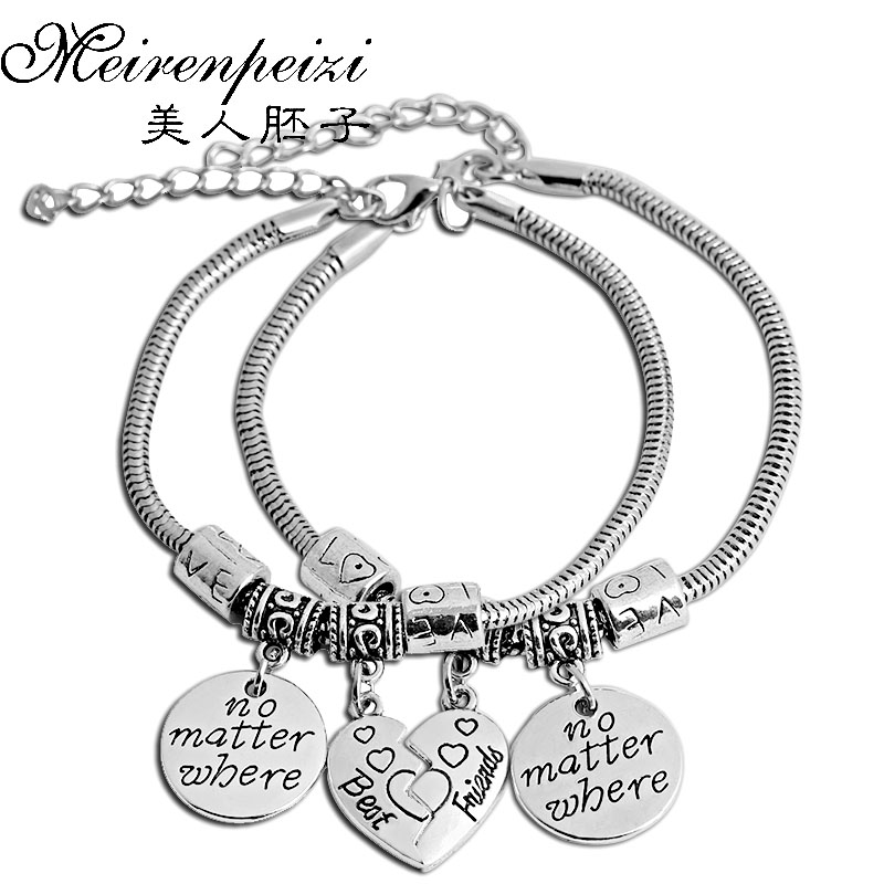 2Pc BFF Long Distance Friendship Bracelets No Matter Where No Matter What Bracelet Bangles Best Friend Graduation Gift(China)