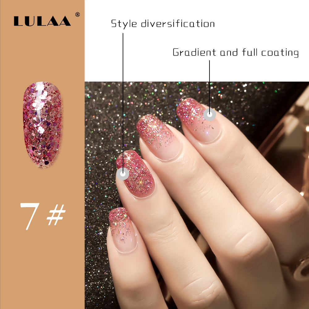 LULAA Sequined Nail Gel Polish Shiny Long-Lasting UV Soak-off polish Varnish Manicure Semi Permanent Art 6ML
