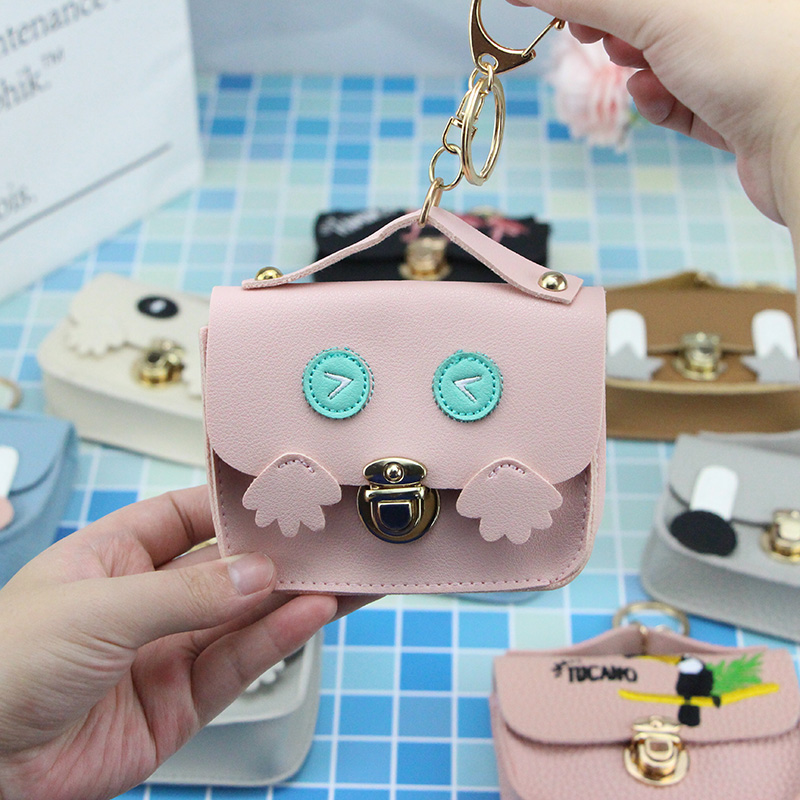 New Leather Embroidered Mini Coin Purses Women Wallets Cartoon Card Holder Key Money Bags For Girls Ladies Purse Fashion Pouch