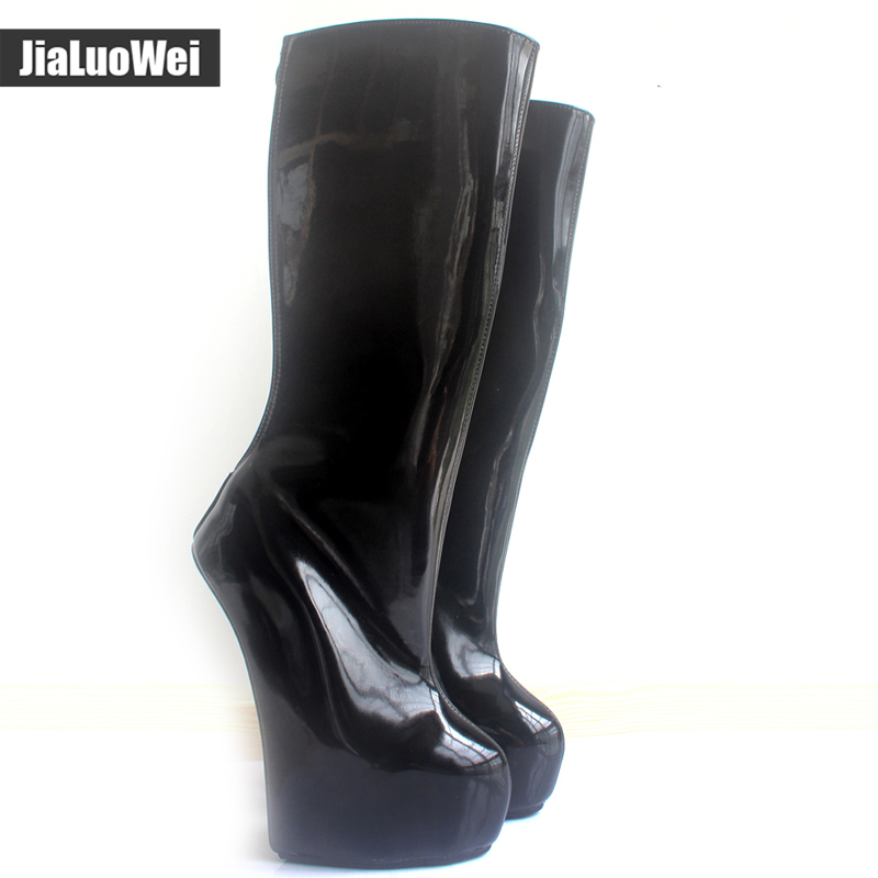 jialuowei Brand 20cm Extreme High Heel +5cm Platform Boots Strange Heel Back Zipper Sexy Fetish Ponying Punk Knee-High Boots jialuowei 20cm high heel 5cm platform fetish sexy knee high cross tied heelless wedge horse ponying stallion hoof sole boots