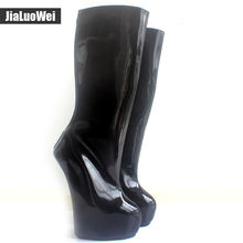 jialuowei Brand 20cm Extreme High Heel +5cm Platform Boots Strange Back Zipper Sexy Fetish Ponying Punk Knee-High