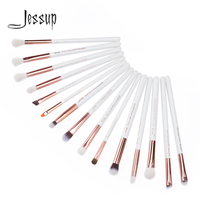 Jessup Pearl White Rose Gold Professional Makeup Brushes Set Make Up Brush Tools Kit Eye Liner
