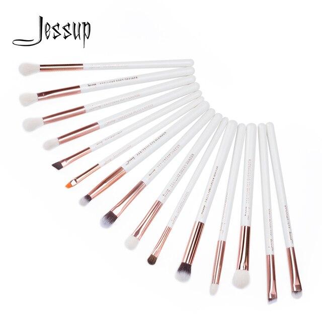 Jessup brushes 15Pcs Pearl White/Rose Gold Professional Makeup Brushes Set Makeup Brush Tools kit Eye Liner Shader T217