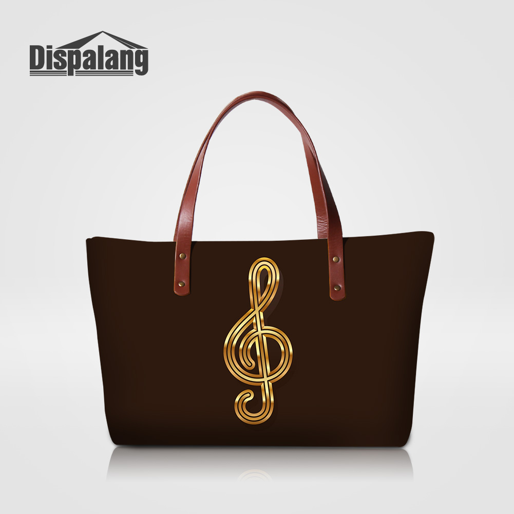 Dispalang Neoprene Good Quality Women Handbags Musical Note Printed Totes Bags For Teenage Girls Laides OL Office Top-handle Bag