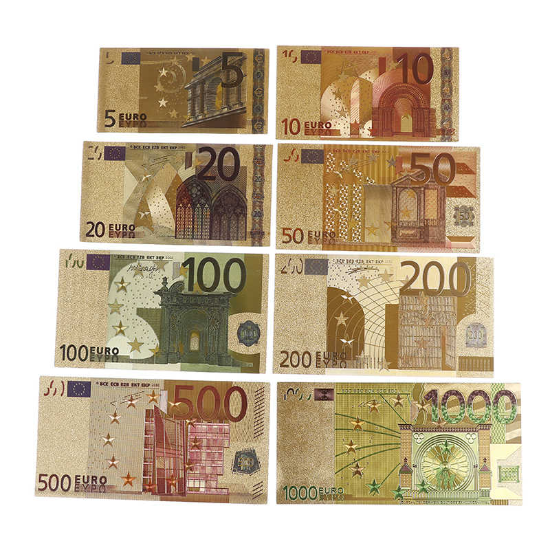 Colorful  paper money crafts  Banknote Euro Gold Plated Paper Money 8 Pcs Set Banknote Worth Collection Hot Sale