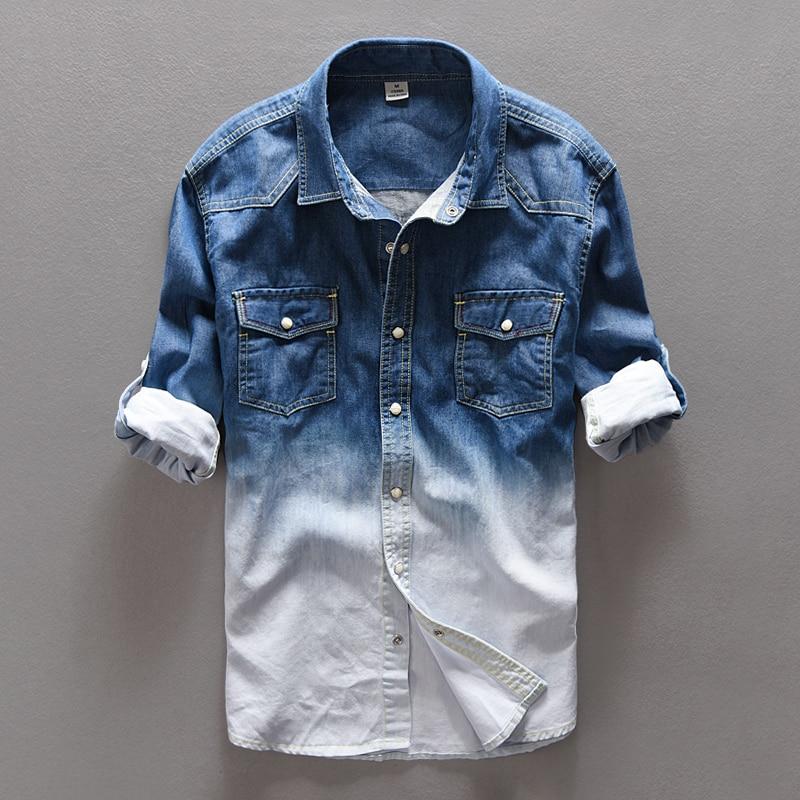 78bf1e4fe3 2016 Otoño pantalones vaqueros de color degradado camisa de los hombres  marca casual denim camisas de algodón para hombres camisa para hombre  overhemd ...