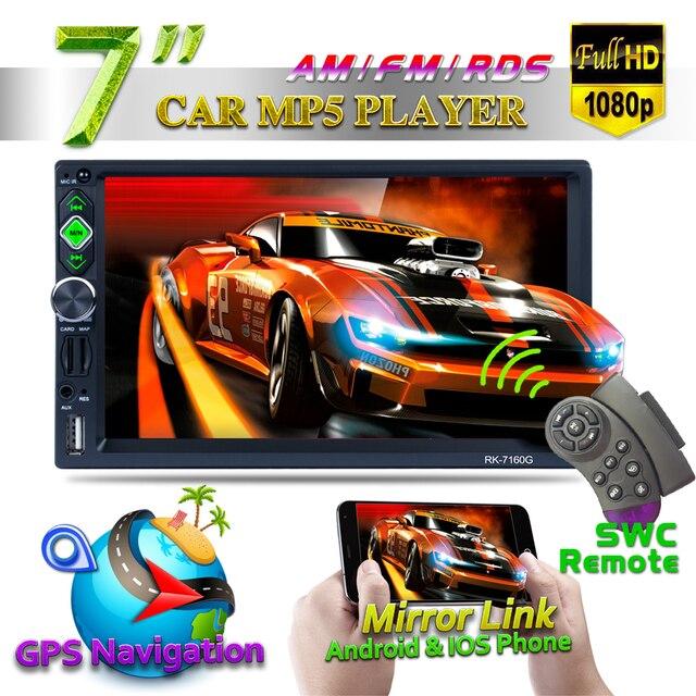 "7"" Full HD 1080P GPS Navigator Bluetooth 7160G Car MP5 Player AM/FM/RDS Radio Mirror Link Car Multimedia Player With Rear Camera"