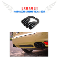 2pcs/set Stainless Steel Aut Car Black Exhaust Tips Muffler Tail Ends Tip Fit for Porsche Cayenne V6 2011 2014