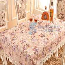 New Europen Wedding Banquet Event Tablecloth Printed Flower Satin Dinning Table Flag Handmade Embroidered