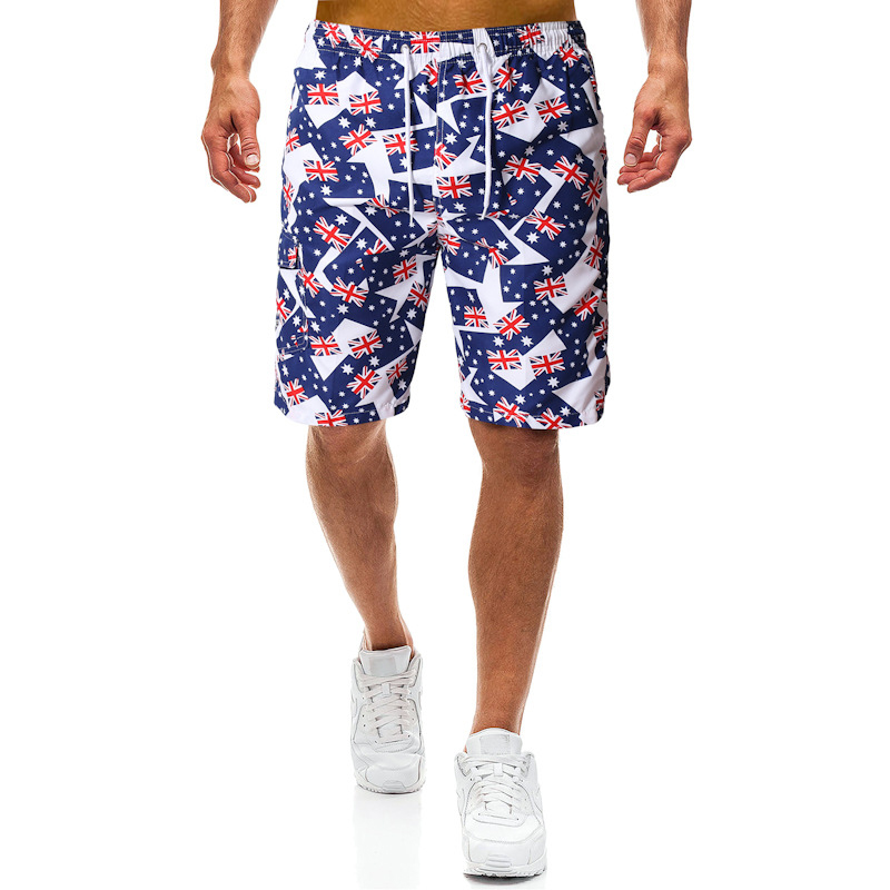 Mens Beach Sport Shorts Australia Flag Loose Casual Short Pants Printing Shorts