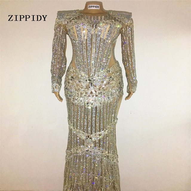 Bright Rhinestones Luxurious Sparkly Crystals Celebrate Dress Evening Party Costume Dj Female Singer Birthday Long Style Dresses 1