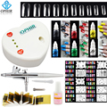 OPHIR Complete Airbrush NailArt Set 0.3mm Airbrush Kit with Compressor 12 Nail Inks 10 Stencil 20 False Nail Beginner Nail Tool