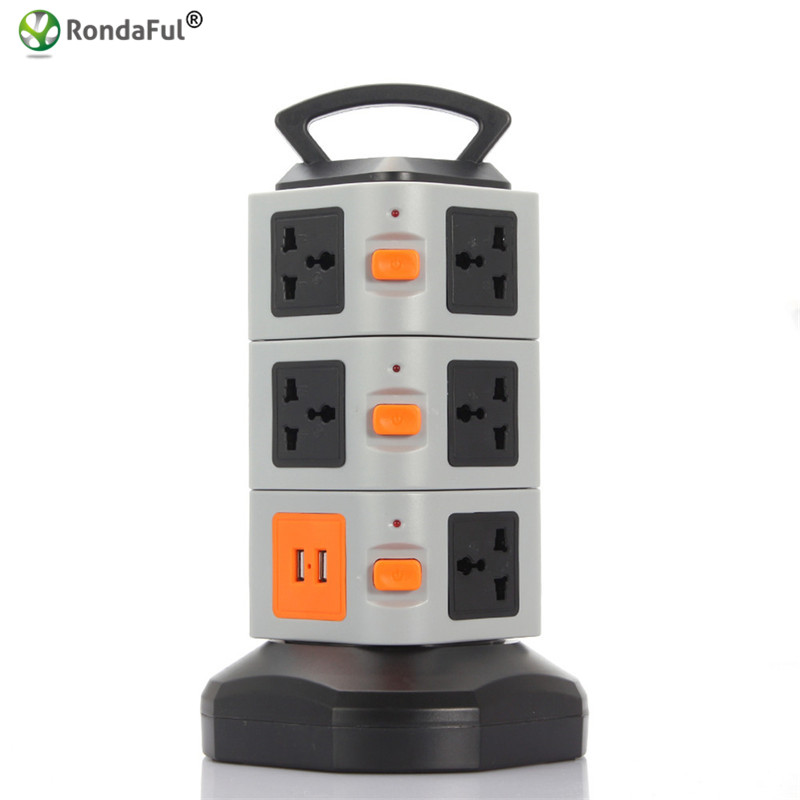 ФОТО Rondaful Electrical Plugs Sockets Power Strip EU US UK Plug 2 USB+11 Outlet Standard Wall Socket Extension Cable Cord Plugs