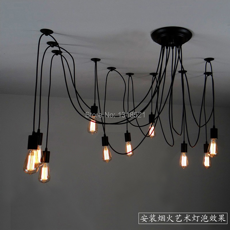 ФОТО Mordern Nordic Retro Edison Bulb Light Chandelier Vintage Loft Antique Adjustable DIY E27 Art Spider Ceiling Lamp Fixture Light