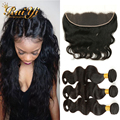 Peruvian Virgin Hair Body Wave With Closure 13*4Ear To Ear Lace Frontal Closure With Bundles Peruvian Body Wave Human Hair Weave