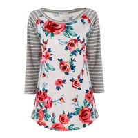 Women Ladies Striped Floral T-shirt Casual Slim 3/4 Sleeve Crew NeckWith