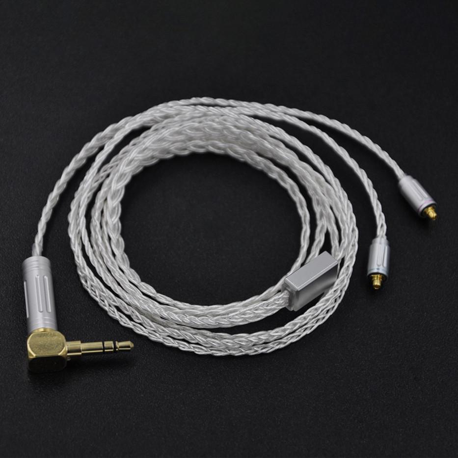 Prix pour Wooeasy Custom Made 8 Core Coeur de L'océan Argent Plaqué Écouteurs Mets Câble Pour SE215 SE535 LZ A4 DQSM