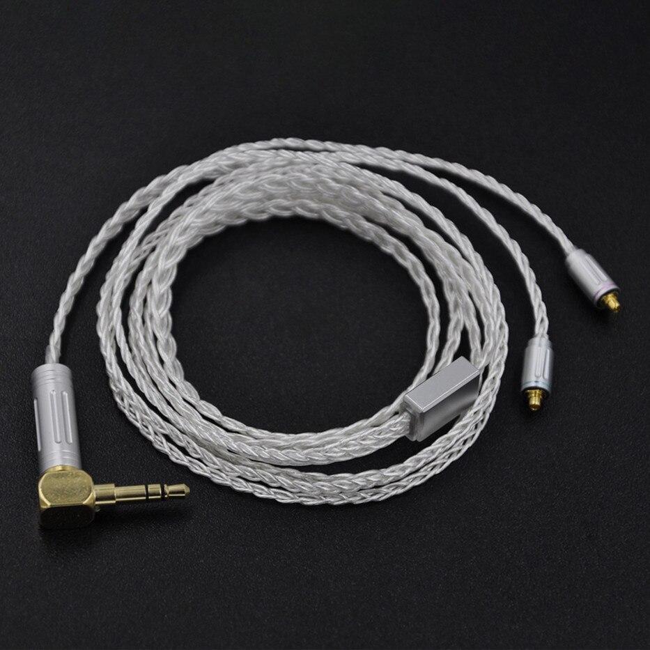 bilder für Wooeasy Nach Maß 8 Core Heart of Ozean Silber Überzogene Kopfhörer Upgrade Kabel Für SE215 SE535 LZ A4 DQSM