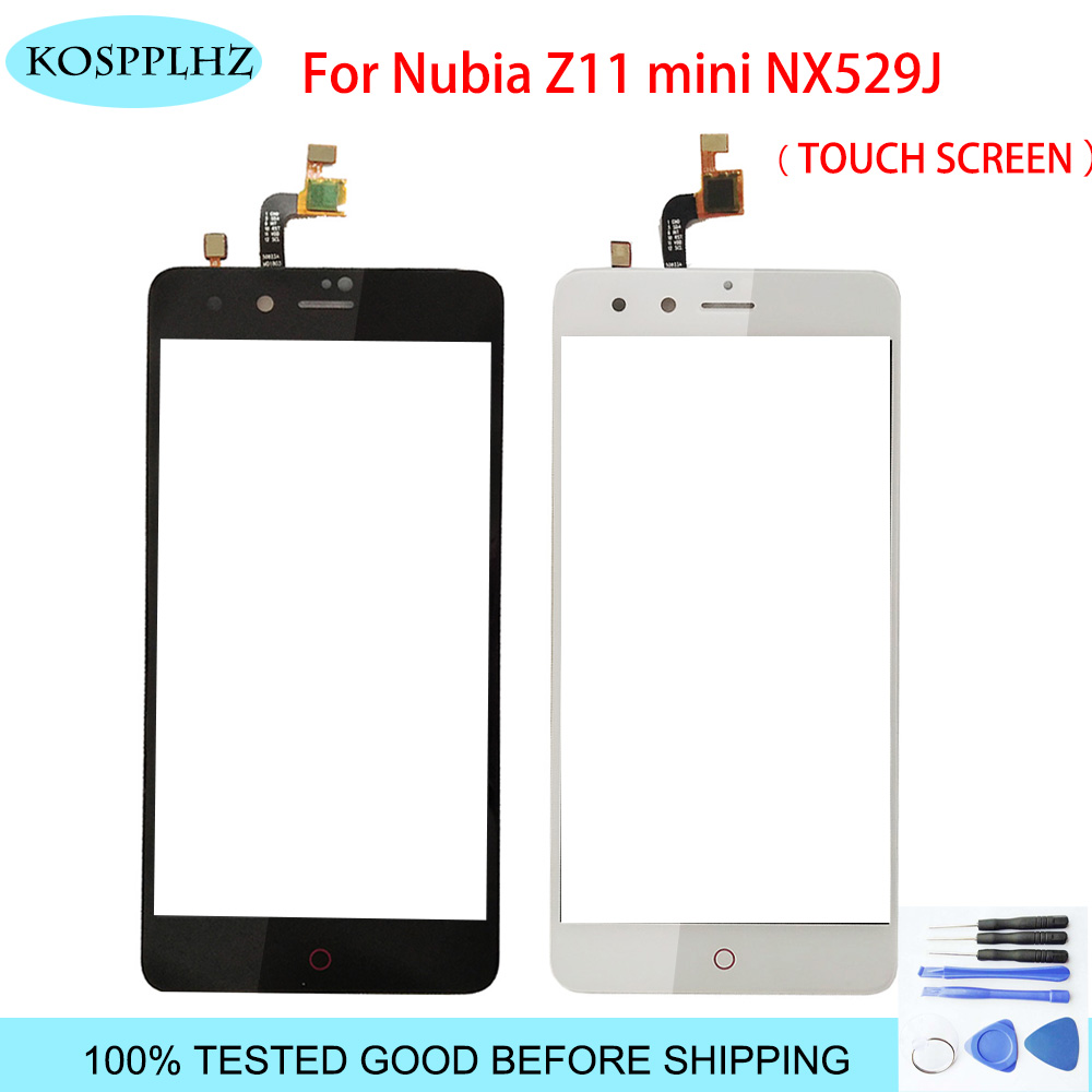 Black/ White front outer glass For <font><b>ZTE</b></font> <font><b>Nubia</b></font> <font><b>Z11</b></font> <font><b>Mini</b></font> TD-LTE NX529J <font><b>Touch</b></font> <font><b>Screen</b></font> <font><b>Touch</b></font> Panel Lens Replacement z 11 nx 529 +Tools image