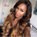 2016 Ombre Brazilian Body Wave With Closure 7a Virgin Brazilian Body Wave With Lace Closure 3 pcs Blonde bundles with closure