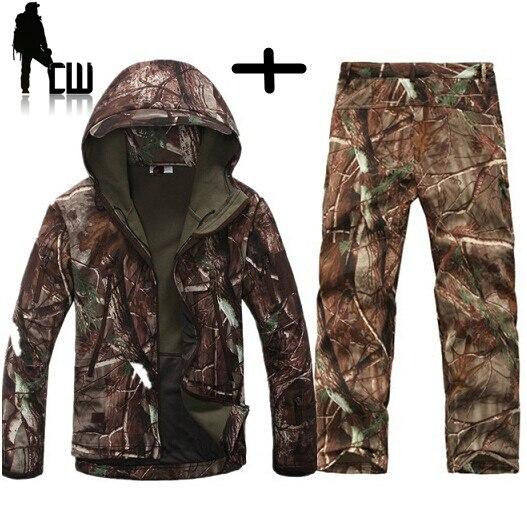 Espreitador pele de tubarão casca mole v4.0 tad jaqueta + ternos uniformes caçador roupas Do Exército ao ar livre tático militar coletes à prova d' água