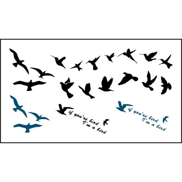 2017 Жінки Чоловіки Мода Підроблені Татуювання Flying Birds Водонепроникний Тимчасові Татуювання Наклейки