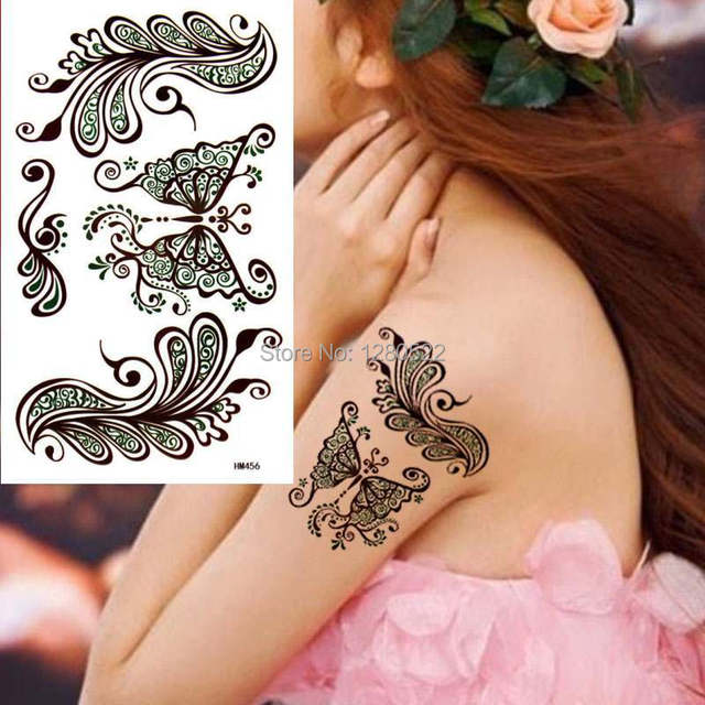 1pcs Women Temporary India Henna Tattoo Butterfly Sticker Body Art