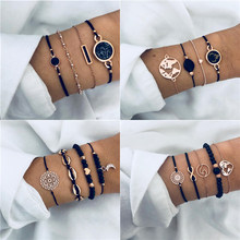 ZORCVENS Bohemian Black Beads Chain Bracelets Bangles For Women Fashion Gold Color Chain Bracelets Sets Jewelry Gifts(China)