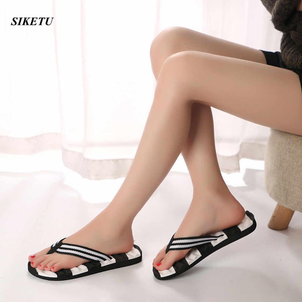 5074a26a8b9b3 Women Fashion Flip Flops Summer Beach Stripe Shoes High Quality Indoor  Outdoor Male Slipper Male Soft EVA Beach Flip Flops L*5