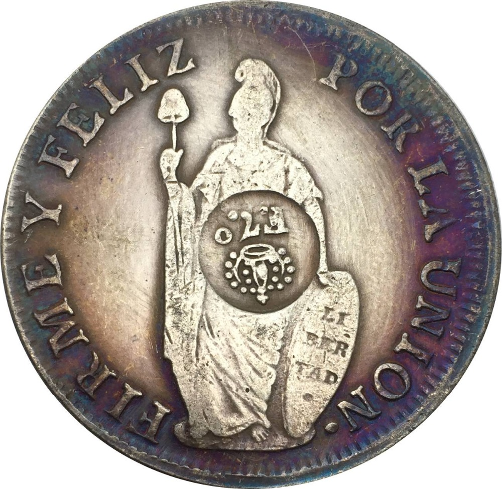 Peru 1833 L MM 8 Reales Lima Brass Plated Silver Copy Coins Can Make Different Color For The Coin And Make The Coin Old
