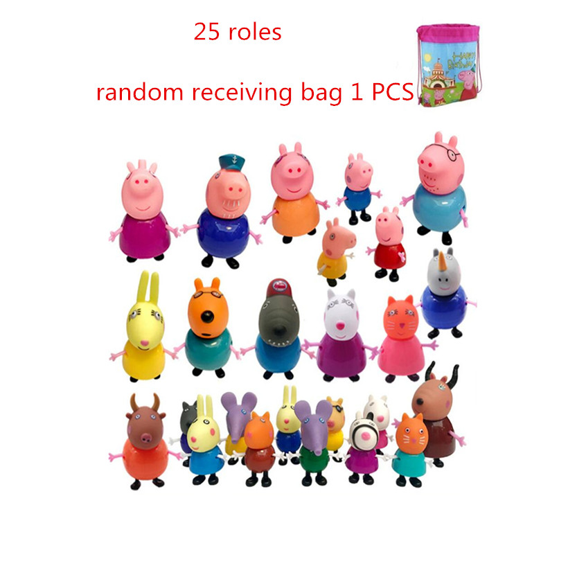 Fashion Styles Original Peppa Pig Doll Family George Dad Mom Grandma Grandpa Action Figure Pelucia Toys For Children Gifts in Action Toy Figures from Toys Hobbies