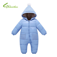 2018 Winter Baby Rompers Overalls Clothes Jumpsuit 0 24 Month Newborn Girl Boy Long Sleeve Hooded