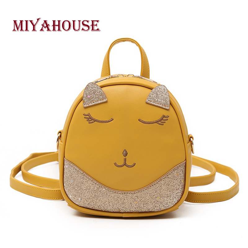 Miyahouse Bling Sequins Design Woman Backpack Solid Color Leather Lady Rucksack Mini Cat Ears Shape Female Travel Bag