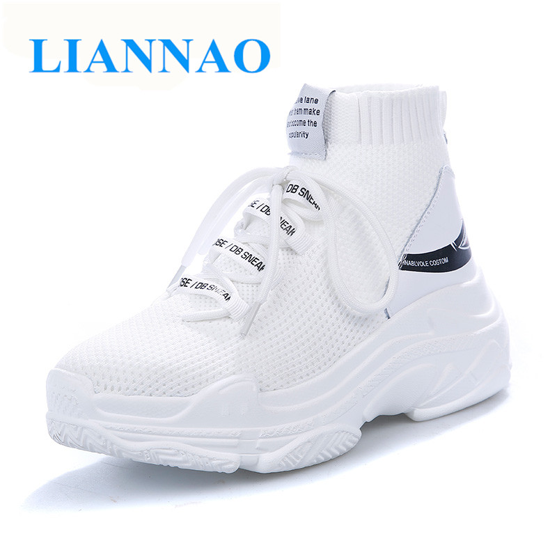 Shoes Women Breathable Big-Size High-Ankle Knit Upper for Couple 47 Shark-Logo