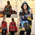2016 Fashion Happy Women Winter Hoodies Poncho Infinity Vintage Ethic Style Woman Lady Knitted Shawl Cape Cashmere Scarf Poncho
