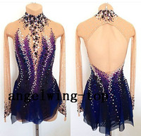 ice skating competition dresses for women custom ice figure skating dress blue ice skating dresses free shipping K88