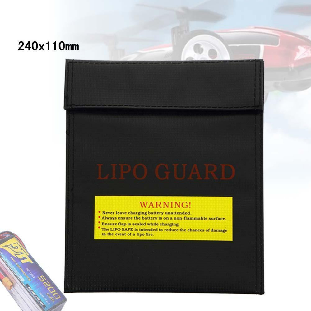 Fiber Li-Po Battery Safety Bag Fireproof LiPo Guard Safe Charge 30x23cm Black