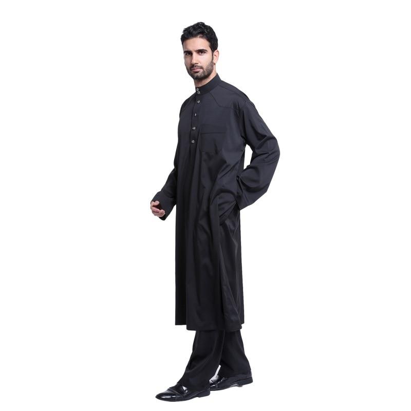 2017 Nya muslimska män långärmad Thobe islamiska kläder - Nationella kläder - Foto 2