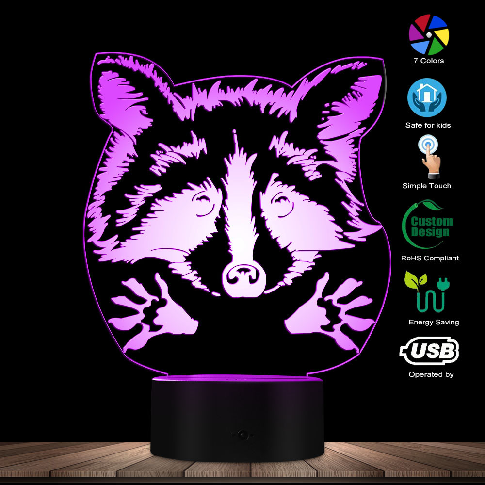 Adorable Raccoon Woodland Animal Optical Illusion Table Lamp Decorative Lighting With Color Changing Pet Owner LED Night Light
