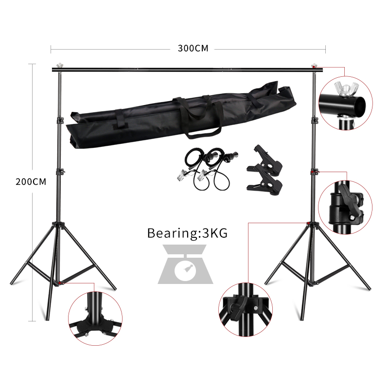 Backdrops Frame 2X3M Background Stand Support System Photography Studio Background Holder Photo & Camera Accessories + Carry BagBackdrops Frame 2X3M Background Stand Support System Photography Studio Background Holder Photo & Camera Accessories + Carry Bag