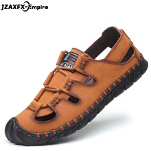 Men Sandals Genuine Leather Summer High Quality Beach sandals Slippers Shoes Men Casual Shoes Lace-up Outdoor Male Shoes недорого