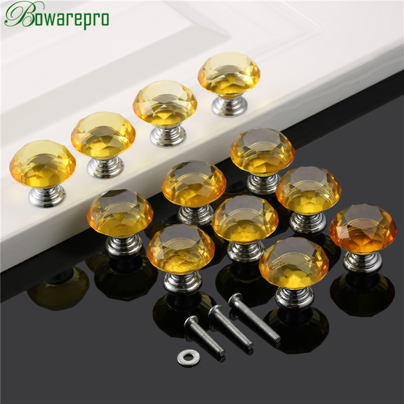 bowarepro Yellow Diamond Crystal Glass kitchen cabinet accessories door hardware furniture handle accessory 30mm 12+36Pcs Screws