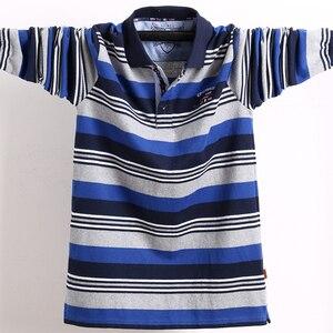 Image 2 - 남자 긴 소매 폴로 셔츠 큰 크기 스트라이프 스탠드 칼라 코 튼 폴로 셔츠 캐주얼 망 옷깃 탑 셔츠 수 놓은 티 5XL