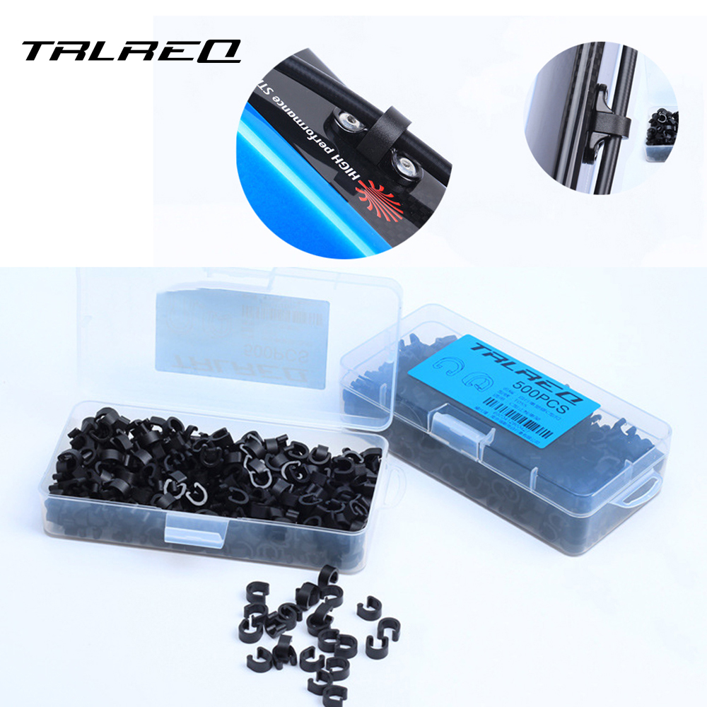 TRLREQ 5pcs/LOT Bike Disc Brake Cable Sets Pipe Line Deduction Transmission Pipe MTB cycling C type Buckle Snap Clamp